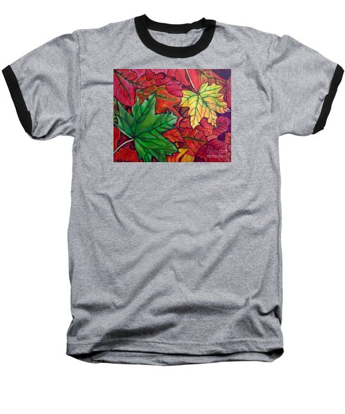 Baseball T-Shirt featuring the painting Falling Leaves I Painting by Kimberlee Baxter