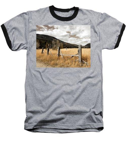Fallowfield Weathered Fence Rocky Mountain National Park Dramatic Sky Baseball T-Shirt by John Stephens
