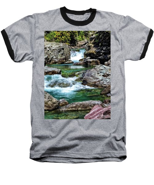 Falls Above Lake Mc Donald Baseball T-Shirt