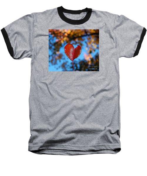 Fall's Heart Baseball T-Shirt by Debra Thompson
