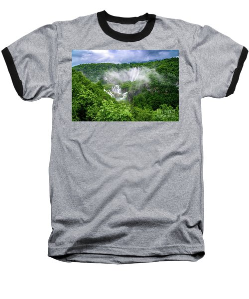 Falls Through The Fog - Plitvice Lakes National Park Croatia Baseball T-Shirt