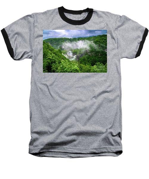 Falls Through The Fog - Plitvice Lakes National Park Croatia Baseball T-Shirt
