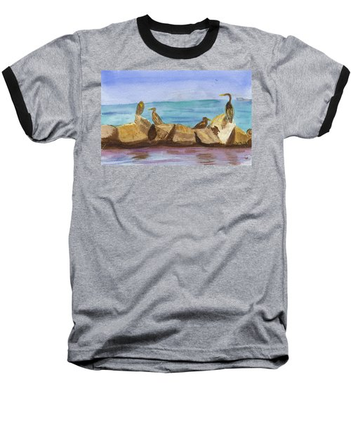 Baseball T-Shirt featuring the painting Falmouth Mass by Donna Walsh