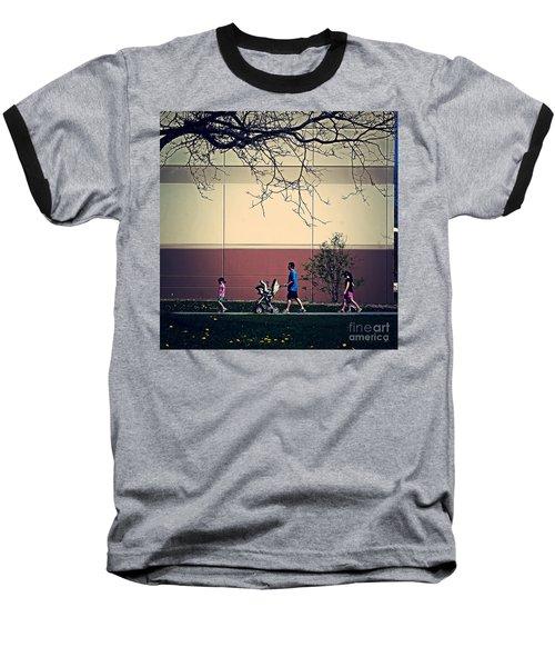 Family Walk To The Park Baseball T-Shirt