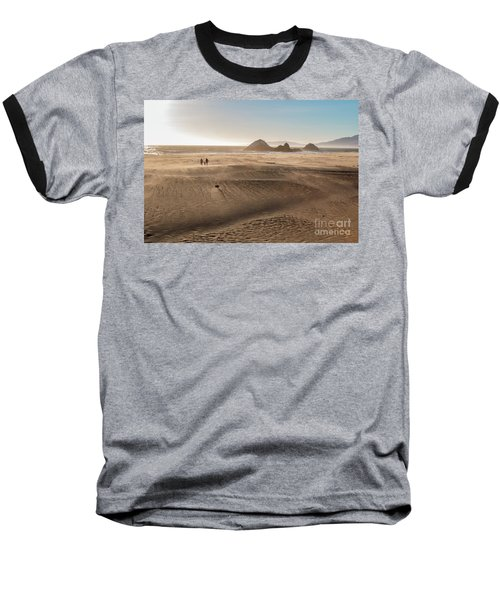 Family Walking On Sand Towards Ocean Baseball T-Shirt