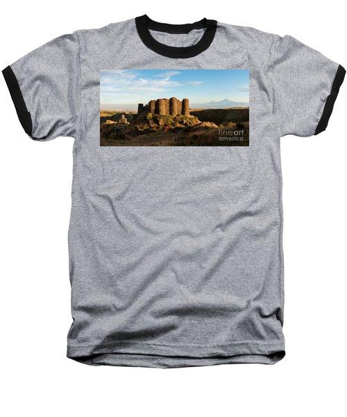 Famous Amberd Fortress With Mount Ararat At Back, Armenia Baseball T-Shirt by Gurgen Bakhshetsyan