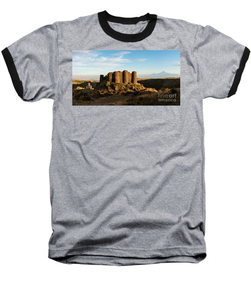 Famous Amberd Fortress With Mount Ararat At Back, Armenia Baseball T-Shirt