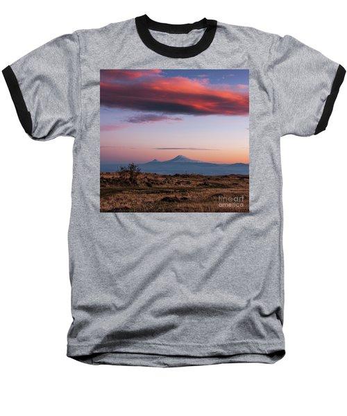 Famous Ararat Mountain During Beautiful Sunset As Seen From Armenia Baseball T-Shirt by Gurgen Bakhshetsyan