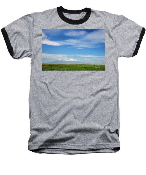 Famous Ararat Mountain Under Beautiful Clouds As Seen From Armenia Baseball T-Shirt by Gurgen Bakhshetsyan