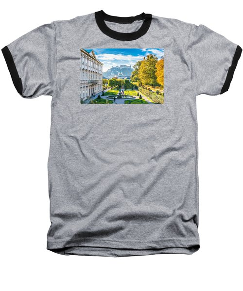 Famous Mirabell Gardens With Historic Fortress In Salzburg, Aust Baseball T-Shirt