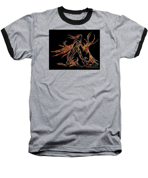 Baseball T-Shirt featuring the drawing Fancy Flight On Fire by Jamie Lynn