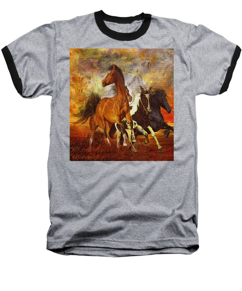 Baseball T-Shirt featuring the painting Fantasy Horse Visions by Steve Roberts