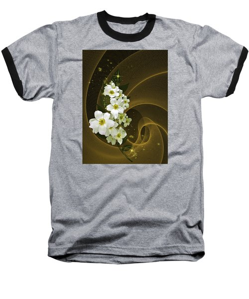 Fantasy In Gold And White Baseball T-Shirt by Judy  Johnson