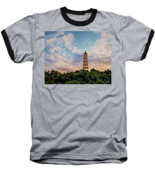 Far Distant Pagoda Baseball T-Shirt
