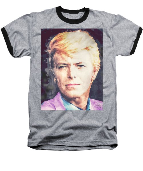 Baseball T-Shirt featuring the painting Farewell David Bowie by Ana Tirolese