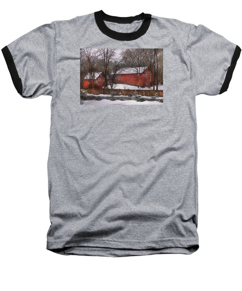 Farm - Barn - Winter In The Country  Baseball T-Shirt by Mike Savad