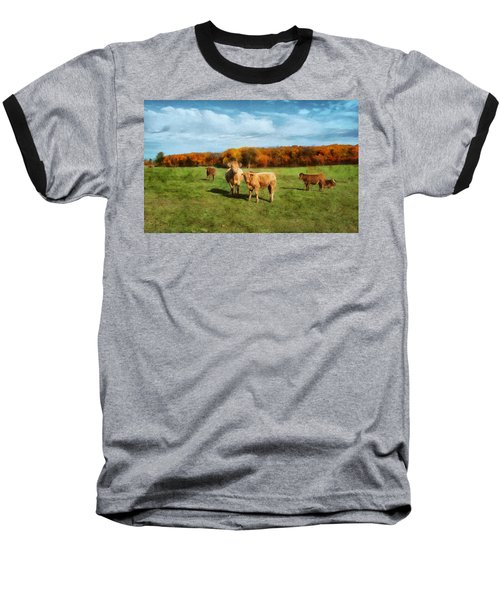 Farm Field And Brown Cows Baseball T-Shirt