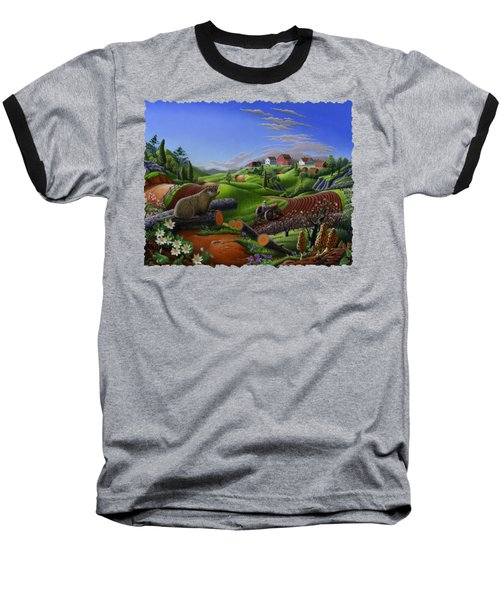 Farm Folk Art - Groundhog Spring Appalachia Landscape - Rural Country Americana - Woodchuck Baseball T-Shirt