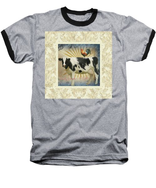 Baseball T-Shirt featuring the painting Farm Fresh Damask Milk Cow Red Rooster Sunburst Family N Friends by Audrey Jeanne Roberts