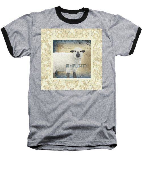 Baseball T-Shirt featuring the painting Farm Fresh Damask Sheep Lamb Simplicity Square by Audrey Jeanne Roberts
