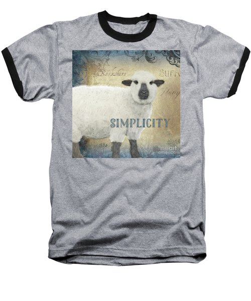 Baseball T-Shirt featuring the painting Farm Fresh Sheep Lamb Simplicity Square by Audrey Jeanne Roberts