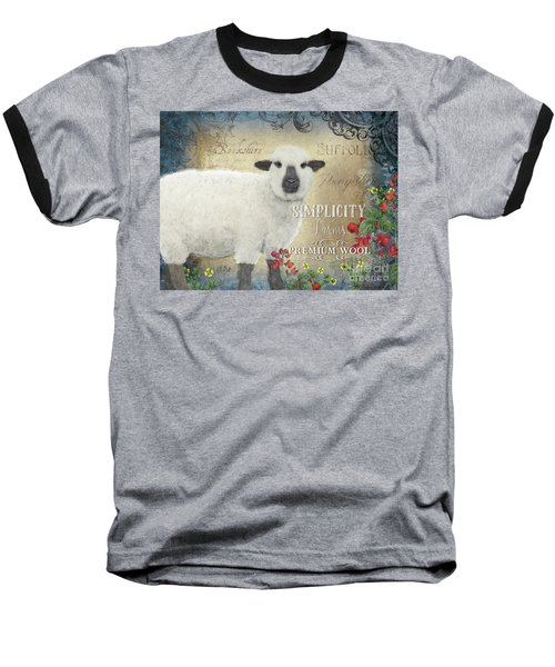 Baseball T-Shirt featuring the painting Farm Fresh Sheep Lamb Wool Farmhouse Chic  by Audrey Jeanne Roberts