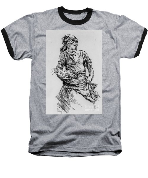 Baseball T-Shirt featuring the drawing Farm Girl by Rod Ismay