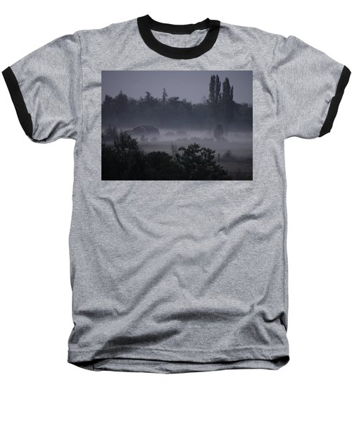 Farm In Fog Baseball T-Shirt