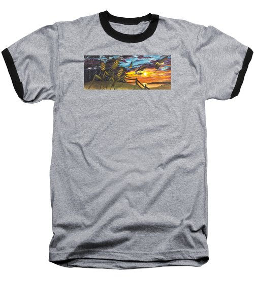 Baseball T-Shirt featuring the painting Farm Sunset by Darren Cannell