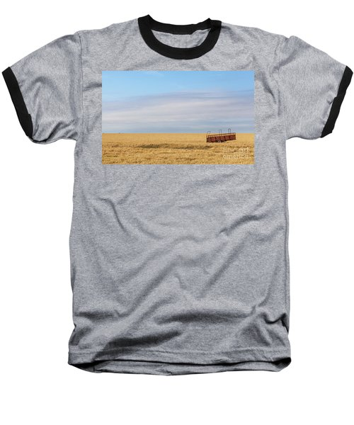Farm Trailer In The Middle Of Field Baseball T-Shirt
