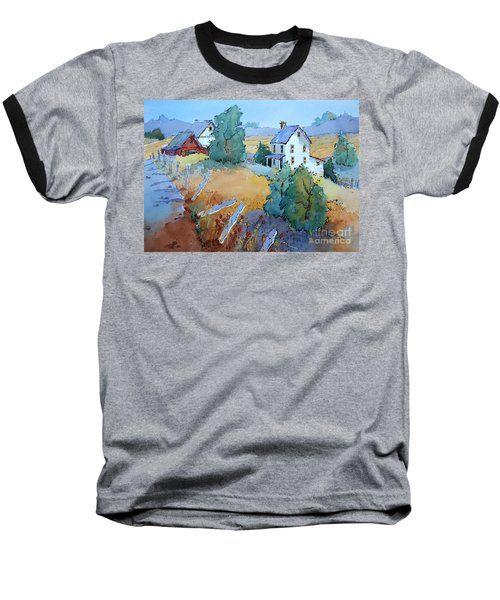 Farm With Blue Roof Tops Baseball T-Shirt