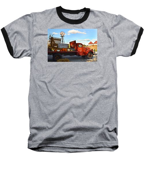 Farm With Red Truck In Fall  Baseball T-Shirt