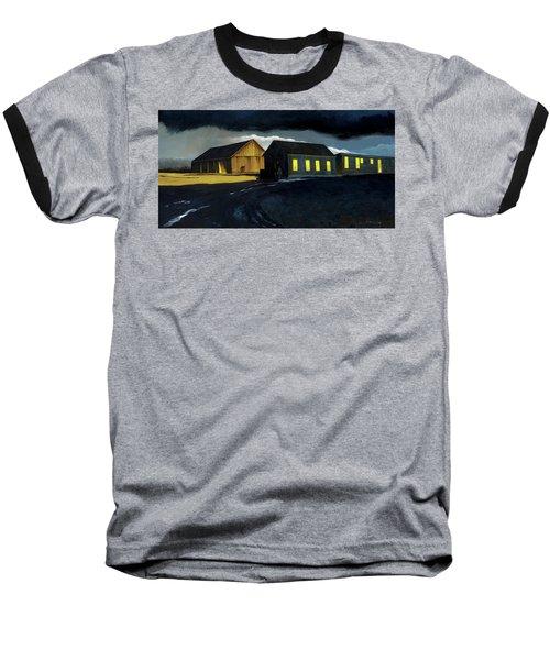 Farm Yard With Moonlight And Rain Baseball T-Shirt