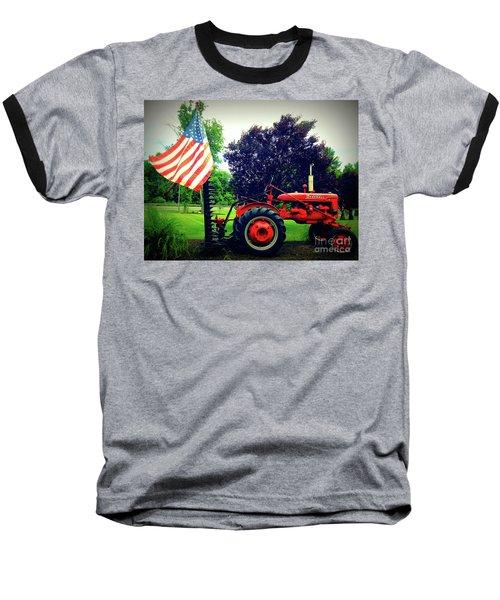 Farmall And Flag Baseball T-Shirt