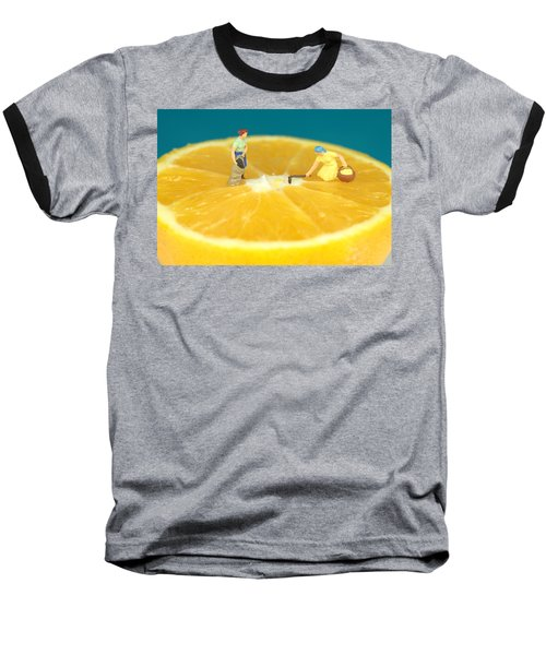Farmers On Orange Baseball T-Shirt by Paul Ge