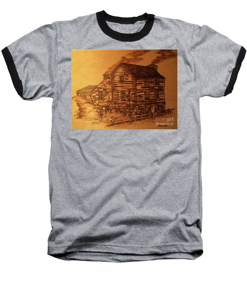 Baseball T-Shirt featuring the pyrography Farmhouse by Denise Tomasura
