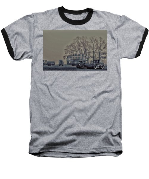 Baseball T-Shirt featuring the photograph Farmhouse In Morning Fog by Sandy Moulder