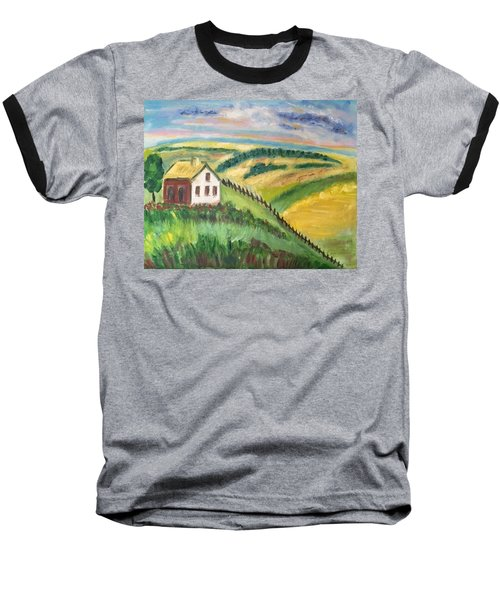 Farmhouse On A Hill Baseball T-Shirt by Diane Pape