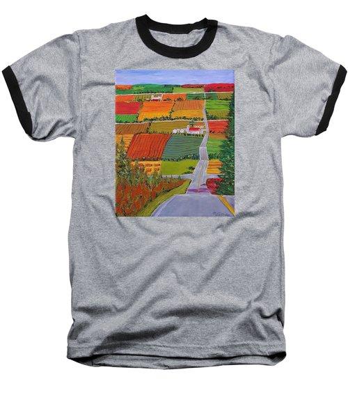 Country Farmland Quilt Baseball T-Shirt by Mike Caitham