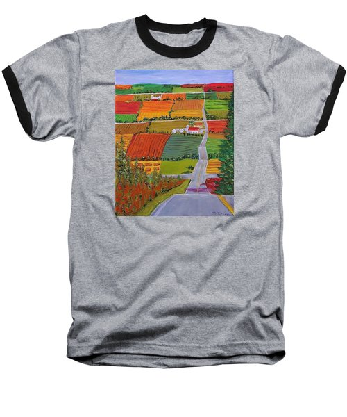 Country Farmland Quilt Baseball T-Shirt