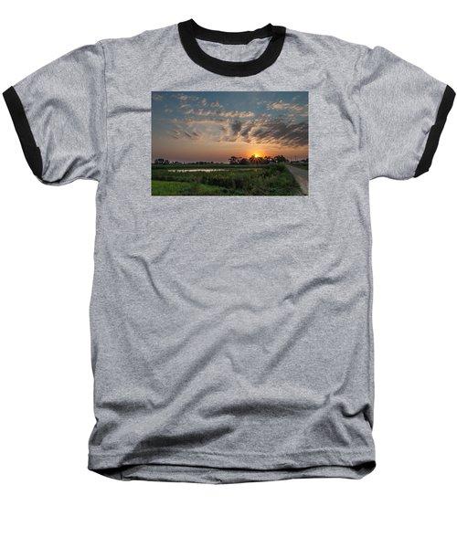 Farmstead Sunrise Baseball T-Shirt by Dan Traun
