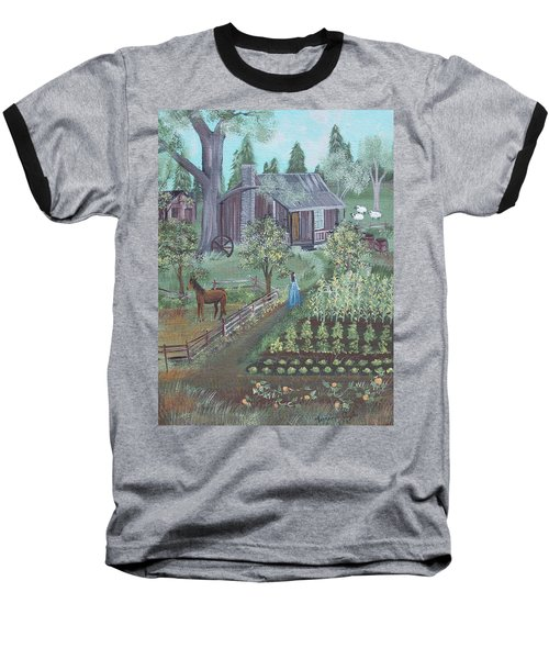 Baseball T-Shirt featuring the painting Farmstead by Virginia Coyle