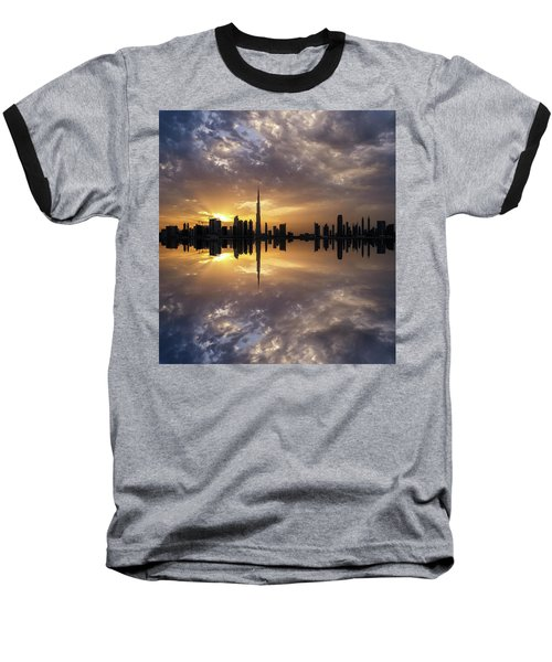 Fascinating Reflection In Business Bay District During Dramatic Sunset. Dubai, United Arab Emirates. Baseball T-Shirt