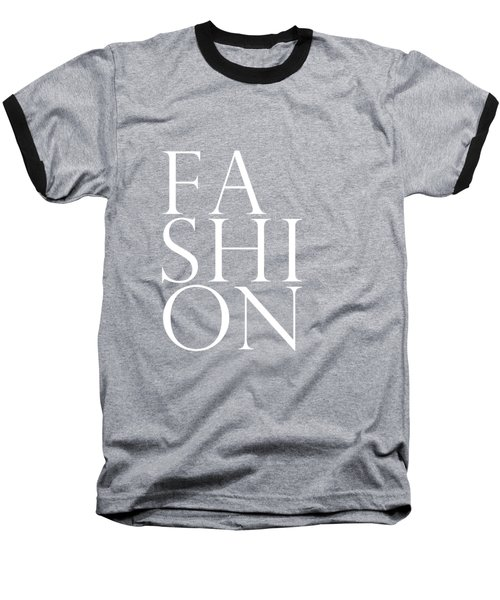 Fashion - Typography Minimalist Print - Black And White Baseball T-Shirt