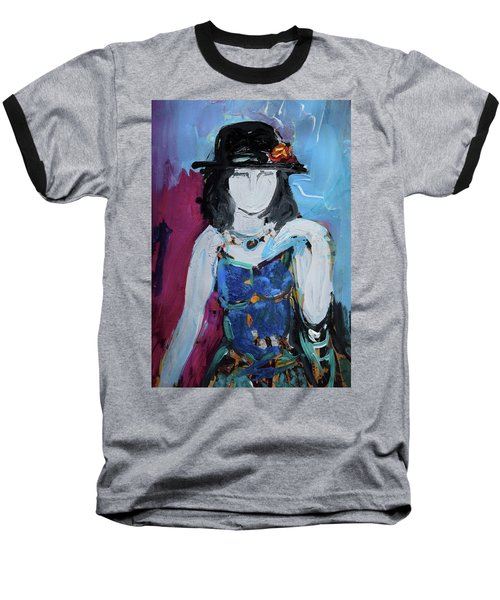 Fashion Woman With Vintage Hat And Blue Dress Baseball T-Shirt