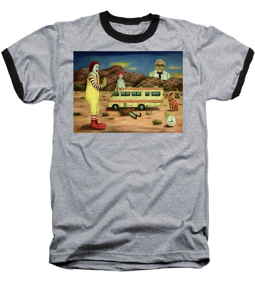 Baseball T-Shirt featuring the painting Fast Food Nightmare 5 The Mirage by Leah Saulnier The Painting Maniac
