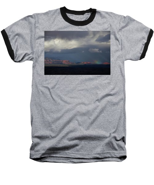Fat Ground Rainbow, Red Rocks Sedona Baseball T-Shirt by Ron Chilston
