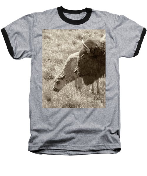 Baseball T-Shirt featuring the photograph Father And Baby Buffalo by Rebecca Margraf