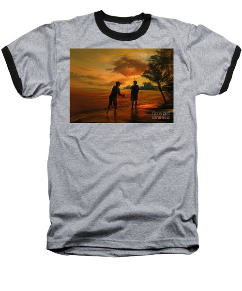 Father And Son Fishing Baseball T-Shirt by Rob Corsetti