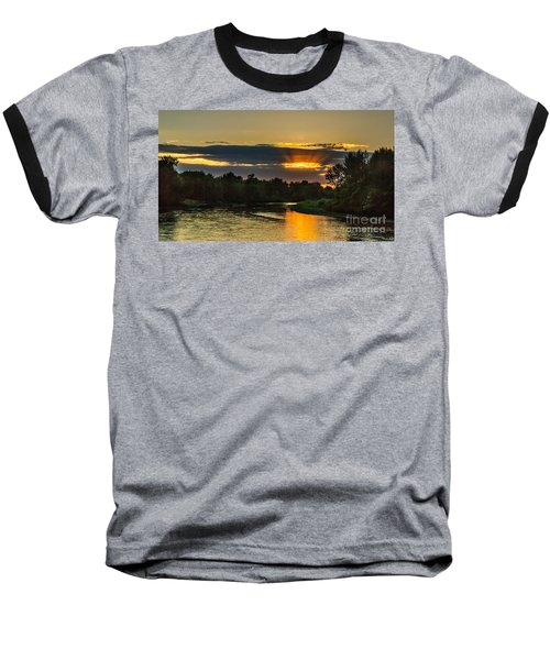 Father's Day Sunset Baseball T-Shirt by Robert Bales